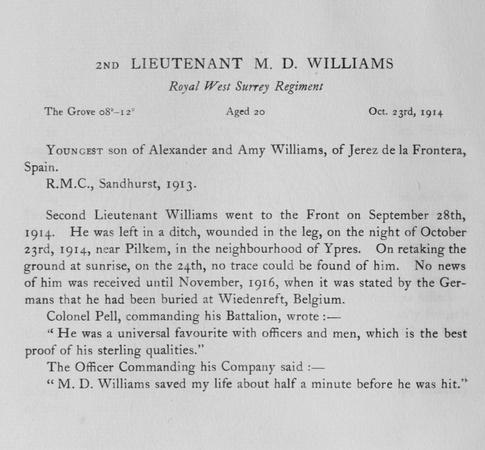 UK Photo Archive: Harrow Memorials Of The Great War Vol 1 1914-1918 Obituaries &emdash; Williams M D 2nd Lt Royal West Surrey Regiment Obit