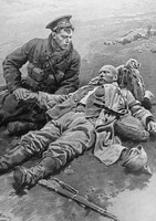 A British Soldier Comforting A Dying French Soldier On The Battlefield