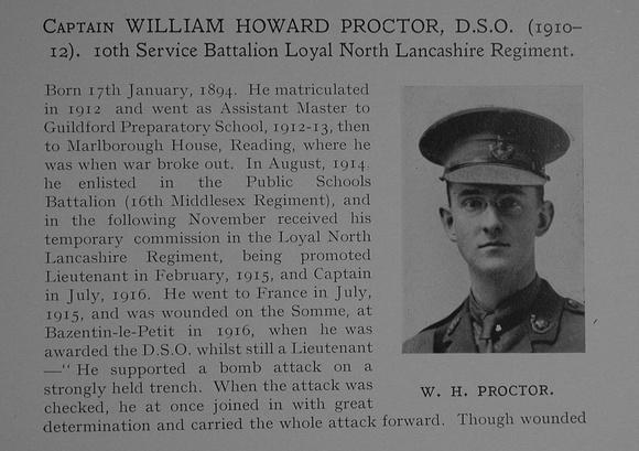 UK Photo Archive: Dulwich College War Record 1914-1919 &emdash; Proctor W H Captain DSO 10th Loyal North Lancashire Regiment Obit Part 1 Dulwich College Roll Of Honour