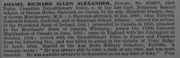 Adams R A R Pte 859007 43rd Canadian Infantry Obit De Ruvignys Roll Of Honour Vol 4
