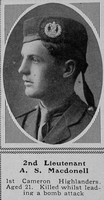 MacDonell A S 2nd Lt 1st Cameron Highlanders The Sphere 4th Dec 1915