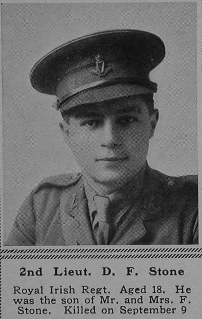 UK Photo Archive: S &emdash; Stone C D F 2nd Lt 4th Royal Irish Regiment Attd 6th Connaught Rangers The Sphere 27th Jan 1917