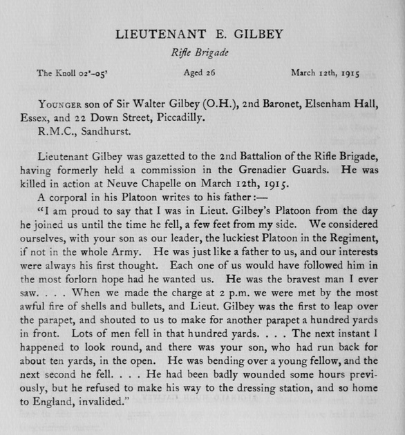 UK Photo Archive: Harrow Memorials Of The Great War Vol 1 1914-1918 Obituaries &emdash; Gilbey E Lt Rifle Brigade Obit