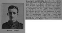 Lambie R Pte 10th Cameronians Obit De Ruvignys Roll Of Honour Vol 3