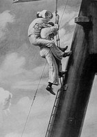 A Brave Able Seaman Carrying A Comrade Down To Safety On HMS Inflexible