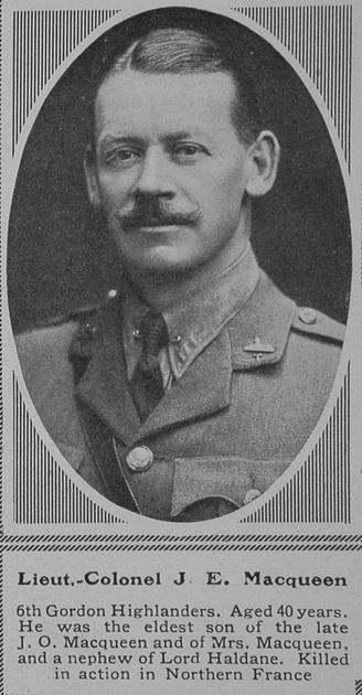UK Photo Archive: M &emdash; MacQueen J E Lt Col 6th Gordon Highlanders The Sphere 23rd Oct 1915
