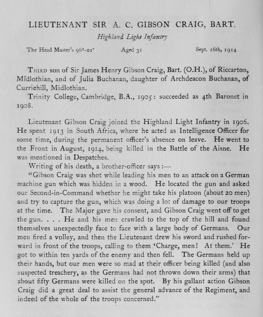 UK Photo Archive: Harrow Memorials Of The Great War Vol 1 1914-1918 Obituaries &emdash; Gibson-Craig A C Lt Sir Highland Light Infantry Obit