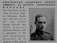 Abbott G D Lt 1st Connaught Rangers Obit Part 1 Bond Of Sacrifice Vol 1