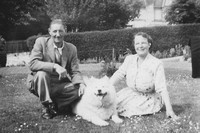 1950s Couple With A Samoyed