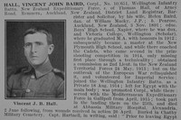 Hall V J B Cpl NZEF Obit Part 1 De Ruvignys Roll Of Honour Vol 2