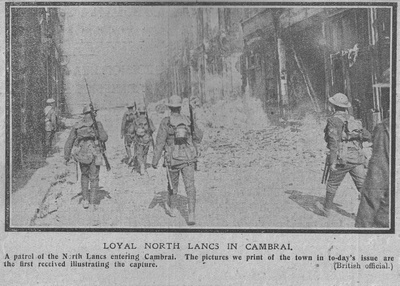 UK Photo And Social History Archive: The Graphic L &emdash; Loyal North Lancs Entering Cambrai Oct 1918