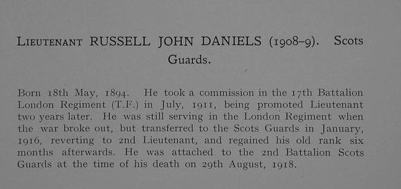 UK Photo Archive: Dulwich College War Record 1914-1919 &emdash; Daniels R J Lt Scots Guards Obit Dulwich College Roll Of Honour