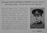 Amsden H L Rfn 16th London Regiment Obit Dulwich College Roll Of Honour