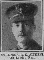 Aitkens A R K 2nd Lt 7th London Regt The War Illustrated 17th July 1915