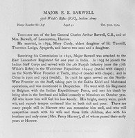 Barwell E E Major Indian Army Obit
