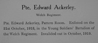 Ackerley E Pte Welsh Regiment Record William Graham Company