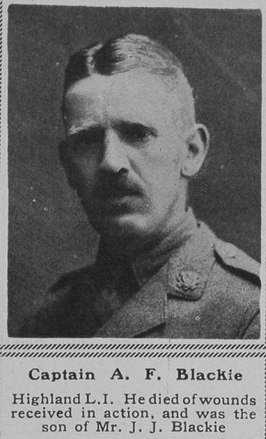 UK Photo Archive: B &emdash; Blackie A F Captain 16th HLI The Sphere 9th Jun 1917