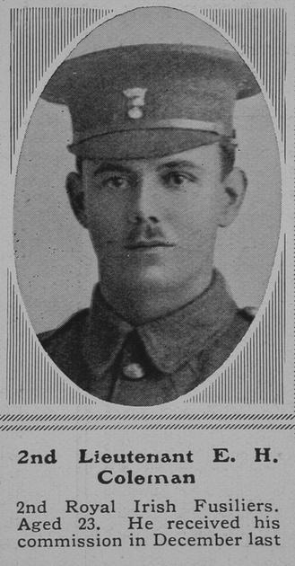 UK Photo Archive: C &emdash; Coleman E H 2nd Lt 2nd Royal Irish Fusiliers The Sphere 5th Jun 1915