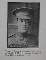 Baldwin F Pte 49th CEF Craven Roll Of Honour