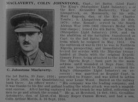MacLaverty C J Captain 1st Kings Shropshire Light Infantry Obit De Ruvignys Roll Of Honour Vol 3