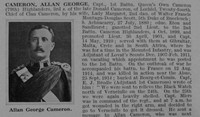 Cameron A G Captain 1st Cameron Highlanders Obituary Part 1 De Ruvignys Roll Of Honour Vol 1