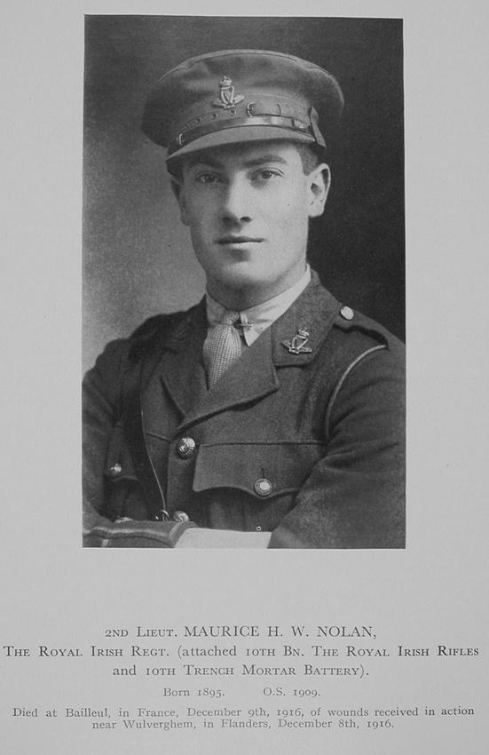 UK Photo Archive: Stonyhurst Roll Of Honour 1914-1918 &emdash; Nolan M W H 2nd Lt Royal Irish Regiment