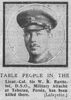 Barttelot W B Lt Col DSO Coldstream Guards The Graphic 30th Oct 1918