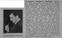 Watkins C R Pte 5th London Regt Obit De Ruvignys Roll Of Honour Vol 1
