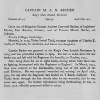 Becher M A N Captain Kings Own Scottish Borderers Obit