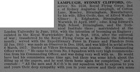 Lamplugh S C Obs 3158 Royal Flying Corps Obit Part 1 De Ruvignys Roll Of Honour Vol 4