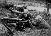 Machine Gunners Equipped With Gas Masks