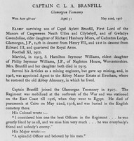 Branfill C L A Captain Glamorgan Yeomanry Obit Harrow Roll Of Honour Vol 3