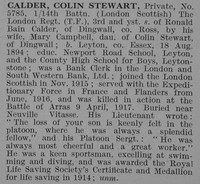 Calder C S Pte 14th London Regt Obit De Ruvignys Roll Of Honour Vol 3