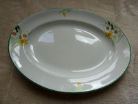 Two JHW & Sons Ltd Hanley Falcon Ware Large Meat Platters Narcissus Design