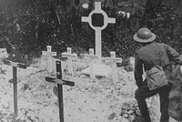 A Canadian Soldier At The Graves Of His Comrades At Vimy Ridge