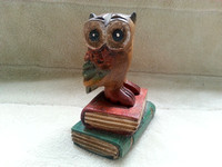 Wooden Owl Sitting On Books By Transomnia