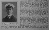 Skinner P J L Sub Lt HMS Formidable Obituary Source De Ruvigny's Roll Of Honour Vol 1