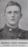 Ormerod F Bmdr Canadian Field Artillery Hyde In War Time - Randal Sidebotham July 1916