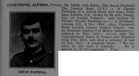 Farthing A Pte 34833 14th Royal Fusiliers Obit
