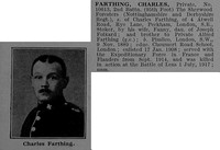 Farthing C Pte 10613 2nd Notts & Derby (Sherwood Foresters) Obit