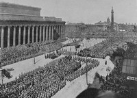 Lord Kitchener Reviewing The March Past Of 12000 Local Men Of The New Army At St Georges Hall Liverpool