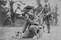 Cyclist Scouts Of The 15th London Regiment Communicating With Their Officer By Telephone