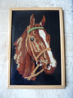 "Vintage Framed Tapestry Of A Horse 14"" x 10"""