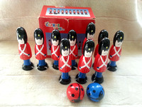 Set Of 10 Wooden Soldiers Skittles And Two Balls