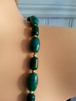 Vintage Jade Green Glass Bead Necklace