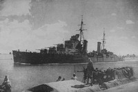 The British Light Cruiser Euryalus En Route To Port Said Passing A Mine Spotting Post In The Suez Canal