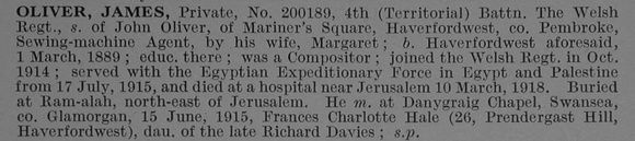 Oliver J Pte 200189 4th Welsh Regiment Obit De Ruvignys Roll Of Honour Vol 4