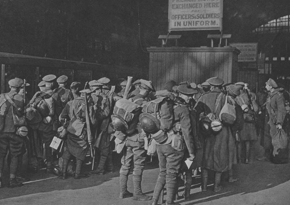 Arrival Of British Troops At A london Railway Terminus