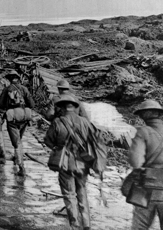 Australians Moving Up To The Front Line Trenches