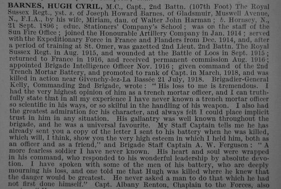 UK Photo And Social History Archive: B &emdash; Barnes H C Captain MC 2nd Royal Sussex Regiment Obit De Ruvignys Roll Of Honour Vol 4